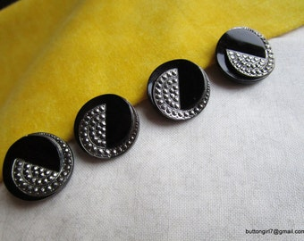0158 – 4 Matching Art Deco Silver Luster Black Glass Buttons-Boutons Verre