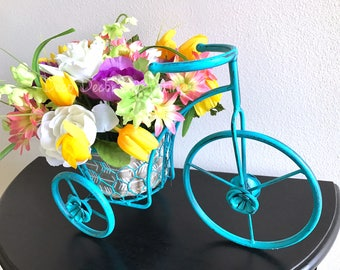 Bicycle Arrangement - Bike Centerpiece - Spring Arrangement  - Spring Decoration - Spring Decor - Spring Centerpiece - Flower Centerpiece