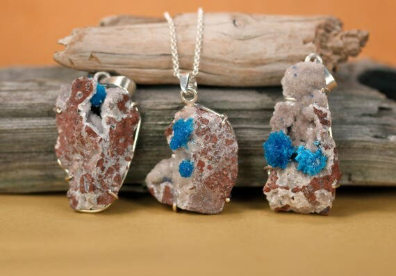 Cavansite necklace - crystal necklace - mineral neckalce - pentagonite necklace - a bright blue cavansite on a sterling silver chain