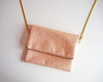 Peach Glitter Fold Over Clutch Bag, Glitter Party Bag, Sparkly Light Pink Fold Over Bag, YKK Zip, Bag with Gold Chain Strap, Peach Clutch,