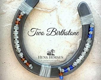 Horseshoe | Personalized Horseshoe | Two Birthstone | Two Children | Two Children Personalized Birthstone Horseshoe | Birthstone Horseshoe