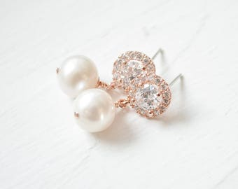 Bridal Earrings Rose Gold, Wedding Earrings Rose Gold, Pearl Rose Gold Drop Earrings