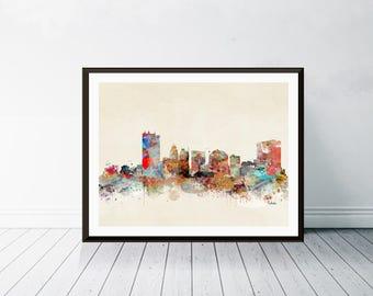toledo ohio skyline . toledo city skyline. toledo cityscape. colorful pop watercolor skyline. Giclee art print.color your world with bri.