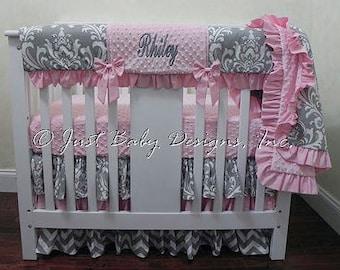 Baby Girl Mini Crib Bedding - Girl Mini Crib Baby Bedding, Crib Rail Cover, Gray and Pink Baby Bedding
