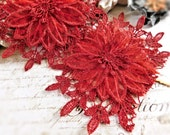 Beautiful Red Lace Trim, 3 Layers Of Rayon Lace And Chiffon Creates A Stunning 3D Flower, 12 Continuous Flowers In Each Yard 101B
