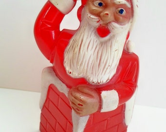 Vintage Plastic Santa in Chimney Candy Container Christmas Decor