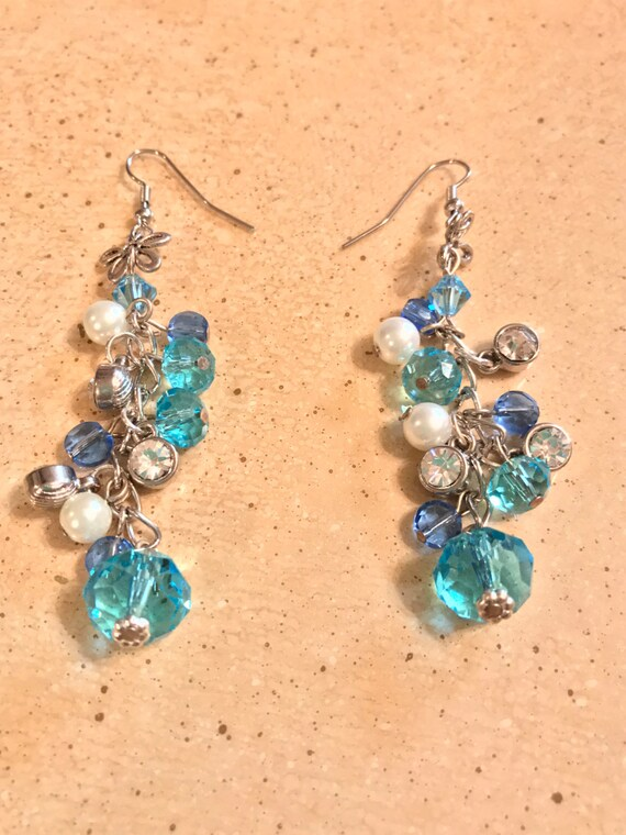 Blue Glass Bead Dangling Earrings
