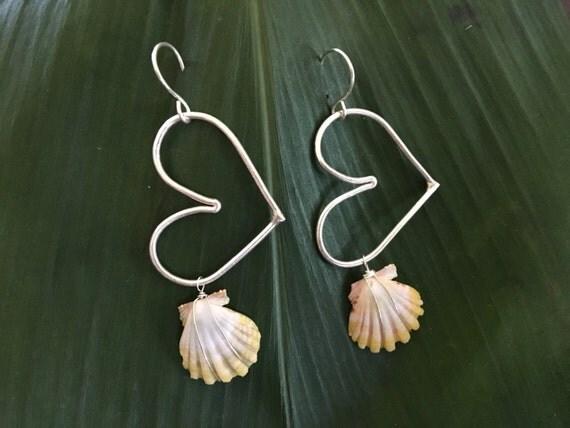 Sterling Silver Sunrise Heart Earrings