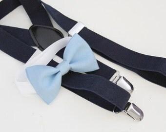 Light blue bow-tie & Navy elastic suspender set, Adjustable neck strap and suspender, suspender and bow tie