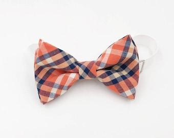 Orange and navy blue plaid bow-tie - Adjustable neck-strap - Pre-tied bow tie