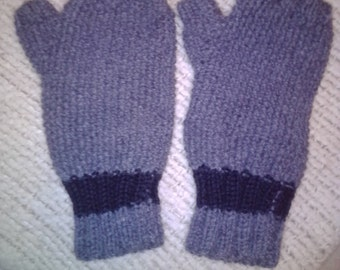 NEW ITEM! Hand knit fingerless gloves in grey with black stripes. One size fits all.