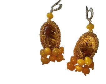Fancy Baltic amber handmade earrings in mat yellow and earthy brown