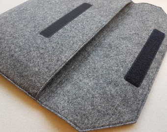 iPad Pro Case / iPad Pro Sleeve / iPad Pro Cover - Mottled Dark Grey Inner & Outer - 100% Wool Felt