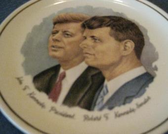 "The Kennedys JFK and RFK Commemorative Collectible Plate 7 1/4"" diameter, gold trim. John F Kennedy, President And Robert F Kennedy, Senator"