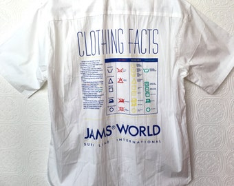 1980's Jams World Deadstock Laundry Print Shirt / Made In Hawaii