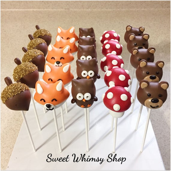 Items similar to 25 Assorted Cute Woodland Cake Pops for ...