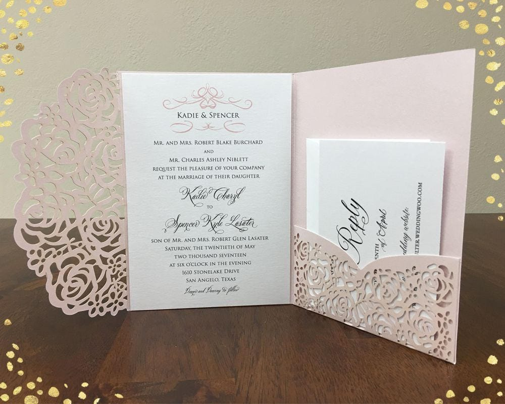 Laser Cut Out Wedding Invitations: Gorgeous Laser Cut Wedding Invitations Pocket Wedding