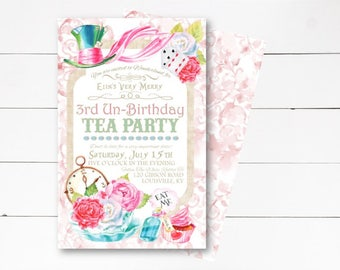 Alice in Wonderland Invitation, Alice in Wonderland Birthday, Alice in Onederland Invitation, Birthday Party Invite, DIY or Printed