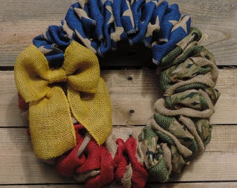 Memorial Day - 4th of July Burlap Wreath/Army
