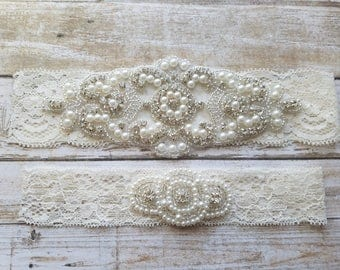 SALE - Wedding Garter, Bridal Garter, Garter Set - Crystal Rhinestone & Pearls - Style G8001