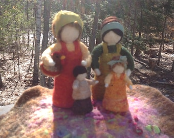 Needle Felted Family,Doll house,Pretend play