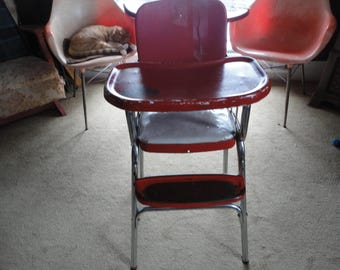 Cosco Baby High Chair Hamilton Indiana USA Made Red Vinyl Metal Chrome Vintage Kids' Furniture