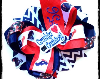 Brian Cushing Texans Custom Bow Houston Texas Red Navy and White Monogrammed Football HairBow Texans Outfits Big Texas Bows