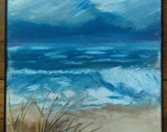 Pastel beach scene, original beach art, beach pastel, pastel painting
