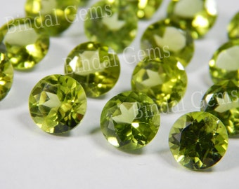 25 Pieces Lot Natural Peridot Round Shape Faceted Cut Loose Gemstone