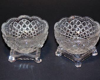 2 Glass Beaded Finger Bowls With Square Footed Base by Avon