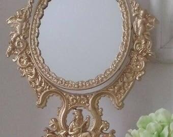 Stunning Large French Vanity Mirror by JM Iron- Cupids, Cherub Design