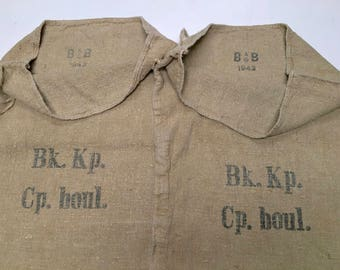 Two (2) Vintage European Grain Sacks from 1943 in Excellent Condition (X4282)