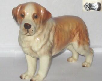 Norcrest Japan A718 Saint Bernard Dog Animal Figurine Standing High Gloss Hand-painted