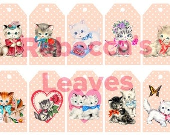 Kitty Tags - Instant Download printable - kitsch retro vintage kitten cat gift tags x 10