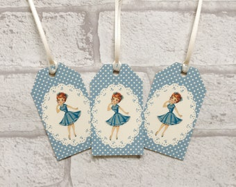 Blue Lady Fifties Retro Gift Tags Vintage Style - set of 10 - fun tags for presents