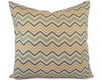 Two Chevron Pillow Covers - Blue Green Yellow Pillows - Neutral Pillow Sham - Cream Pillow - Custom Pillow - 16 Inch Pillow - 18 Inch Pillow