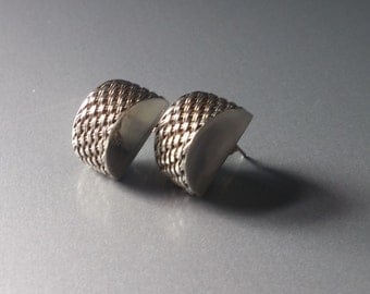 Vintage Sterling Silver Woven stud Earrings lightweight ~ Free shipping