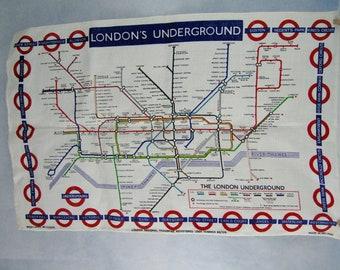 Irish Linen The London Underground Subway Map IRISH Tea Towel  85/376 Vintage New Old Stock