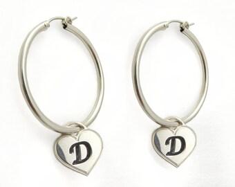 Initial Earrings.monogram Earrings. Sterling Silver Earrings. Personalized Earring. Alphabet Earring. Hoop Earring. Name Earring. Heart.