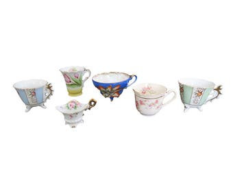Vintage Assorted Floral White China Espresso Teacup Collection Set of 6
