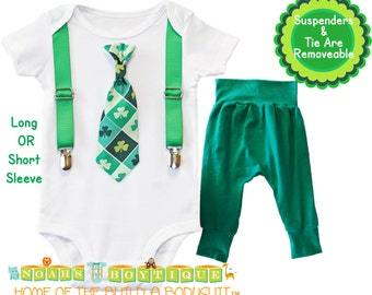St Patrick's Day Baby Outfit Boy - Tie and Suspenders - Green Pants - Lucky Charm - Newborn St Patricks - Clovers - Shamrocks - St Paddys