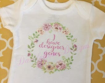 I Have Designer Genes Down's Syndrome Onesie Bodysuit Roses Floral Wreath Baby Girl Chromosomes