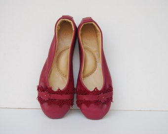 Red burgundy leather and lace ballerina flat shoes custom made