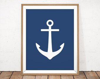 Navy Anchor Printable, Navy Nautical Wall Art, Blue Nautical Print, Blue Nursery Decor, Sea Nursery Wall Art, Baby Boy Nursery Printable