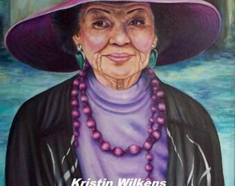 Bonnet Babe - Digital Download of Original Portrait of Asian Lady in Purple Hat