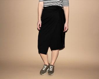 Black cotton high waisted minimal wrap skirt