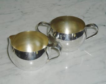 Oneida Community Queen Bess Silver Plate Creamer & Sugar Bowls