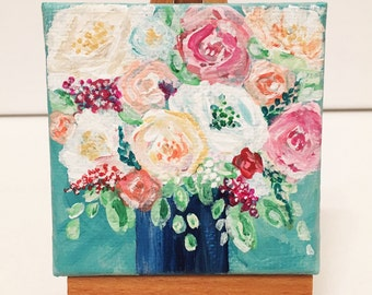 Mini Flower Boquet Painting with Easel