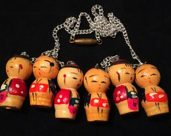 Vintage Asian Wooden Doll Charm Necklace