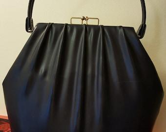 Navy Vinyl Handbag, 1960s Midcentury Modern Closure, Hard-bottom, Pleated